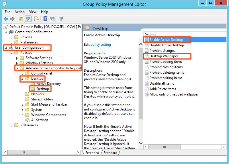 Group Policy ile kullanıcıların masa üstü Resmini değiştirme veya sabitleme_2