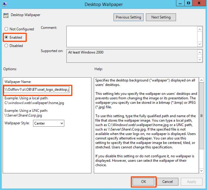 Group Policy ile kullanıcıların masa üstü Resmini değiştirme veya sabitleme_3