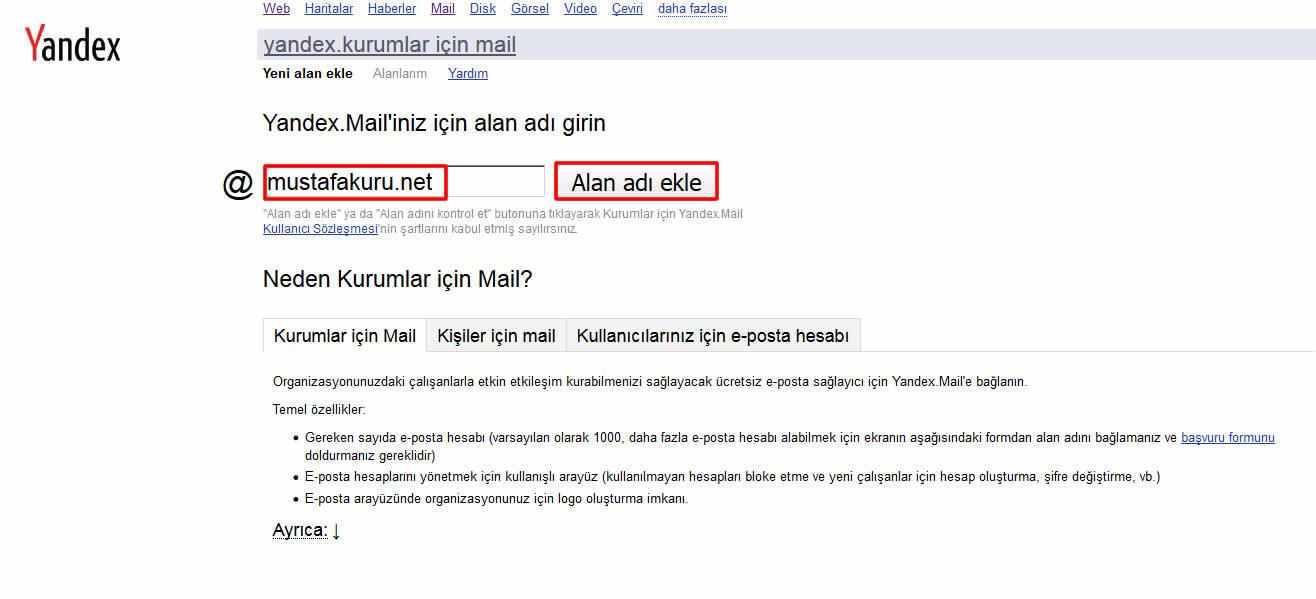 yandex kurumsal mail1